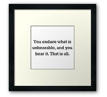 Unbearable Magnus Bane Quote Framed Print