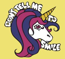 DOn't tell me to smile retro unicorn Kids Tee