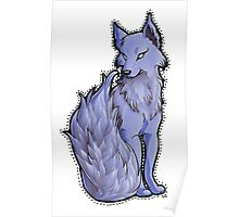 Blue Flame-Tail Wolf Poster