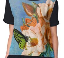 Periwinkle, peach magnolias, green butterfly vintage elements Chiffon Top