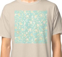 Exotic golden Baroque damask pattern, robin's egg blue Classic T-Shirt