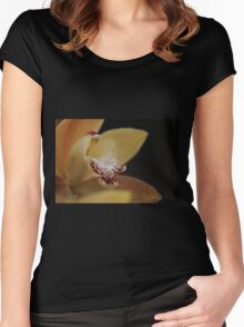 Yellow Satin Women's Fitted Scoop T-Shirt