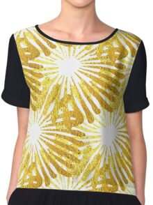 White background gold Daisies pattern Chiffon Top