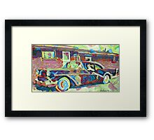 Grandma's Here! Classic car Picture Framed Print