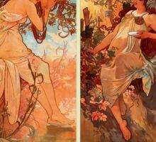 Alphonse Mucha Four Seasons Art Nouveau Sticker