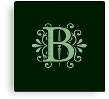 Alphabet Letters - B - green background    Canvas Print