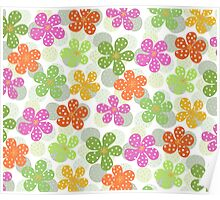Vibrant Floral Pattern - Green Pink Orange Yellow  Poster