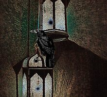 Crow Sits On Night Lantern No.2 by Zehda