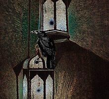 Crow Sits On Night Lantern No.2 by Zehda