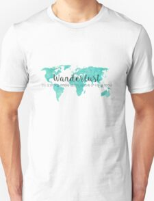 Wanderlust (n) Teal Watercolor World Map Unisex T-Shirt