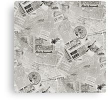 Antique Newspaper Collage Canvas Print