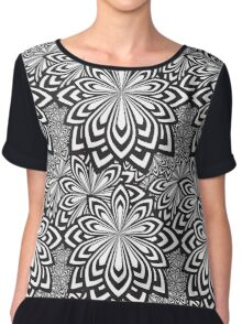 Black and White Abstract Flowers Design Chiffon Top
