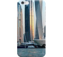 Photography of many tall buildings, skyscrapers skyline from Dubai and boats. United Arab Emirates. iPhone Case/Skin