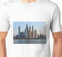 Photography of many tall buildings, skyscrapers skyline seen from the water from Dubai. United Arab Emirates. Unisex T-Shirt