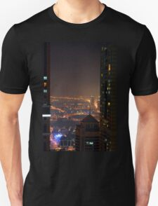 Photography of many tall buildings, skyscrapers skyline at night from Dubai. United Arab Emirates. T-Shirt