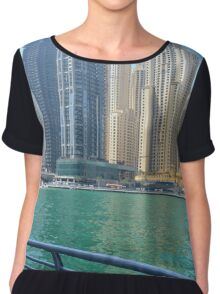 Photography of many tall buildings, skyscrapers skyline seen from the water from Dubai. United Arab Emirates. Women's Chiffon Top