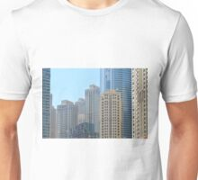 Photography of many tall buildings, skyscrapers skyline from Dubai. United Arab Emirates. Unisex T-Shirt