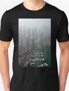Photography of many tall buildings, skyscrapers skyline from Dubai. United Arab Emirates. T-Shirt