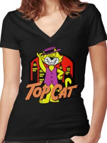 TOP CAT Women's Fitted V-Neck T-Shirt
