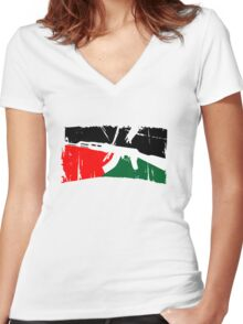 Free Palestine Women's Fitted V-Neck T-Shirt