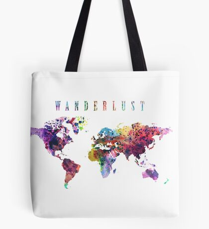 Wanderlust World Map Watercolor Tote Bag