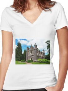 countryside church Women's Fitted V-Neck T-Shirt
