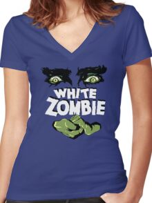 White Zombie Women's Fitted V-Neck T-Shirt