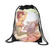 Cherry Mermaid Drawstring Bag