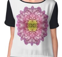 Rose Pink Chrysanthemum Bomb Chiffon Top