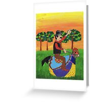 Riding the hen-horse Greeting Card