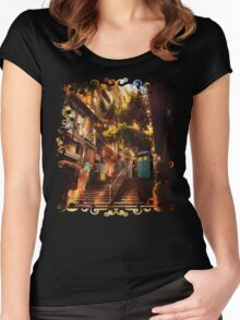 Time Traveller lost in china town art painting Women's Fitted Scoop T-Shirt