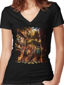 Time Traveller lost in china town art painting Women's Fitted V-Neck T-Shirt