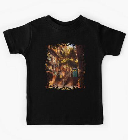 Time Traveller lost in china town art painting Kids Tee