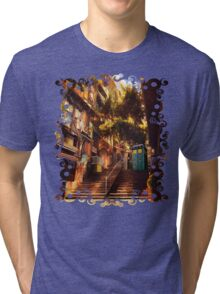 Time Traveller lost in china town art painting Tri-blend T-Shirt