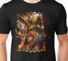 Time Traveller lost in china town art painting Unisex T-Shirt