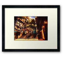 Time Traveller lost in china town art painting Framed Print