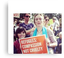 Compassion NOT Cruelty for Refugees Asylum Seekers Metal Print