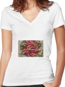 Chillies Women's Fitted V-Neck T-Shirt
