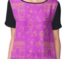 Paris Seamless Pattern with Arc de Triomphe and Travel Elements Chiffon Top