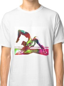 Couple yoga watercolour art Classic T-Shirt