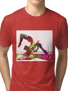 Couple yoga watercolour art Tri-blend T-Shirt