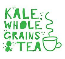 KALE, whole grains and tea Photographic Print
