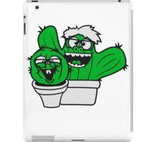 2 friends team nerd geek couple face funny comic cunning hornbrille nerdy little green cactus, desert iPad Case/Skin