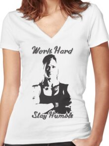 Work Hard, Stay Humble (Holly Holm) Women's Fitted V-Neck T-Shirt
