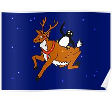 Penguin flying with reindeer Poster