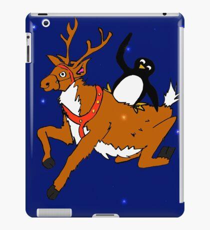 Penguin flying with reindeer iPad Case/Skin