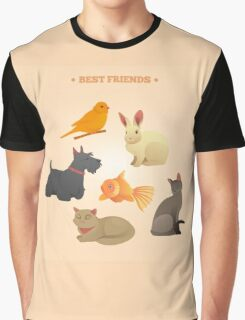 Home Pets Set: Carrot, Dog, Rabbit, Fish and Cats. Vector illustration Graphic T-Shirt