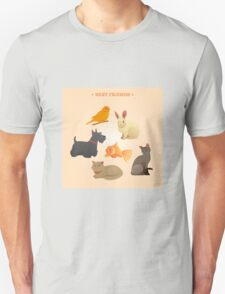 Home Pets Set: Carrot, Dog, Rabbit, Fish and Cats. Vector illustration Unisex T-Shirt