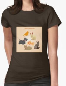 Home Pets Set: Carrot, Dog, Rabbit, Fish and Cats. Vector illustration Womens Fitted T-Shirt