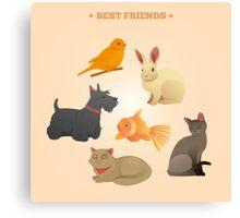 Home Pets Set: Carrot, Dog, Rabbit, Fish and Cats. Vector illustration Canvas Print